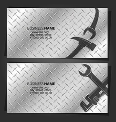 Hammer and wrench repair and service business card vector