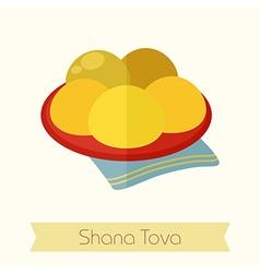 Hanukkah doughnut Rosh Hashanah icon Shana tova vector