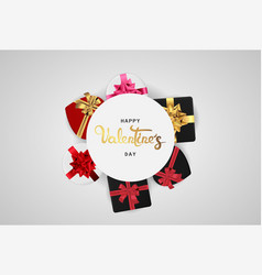 happy valentines day realistic banner flat lay top vector image