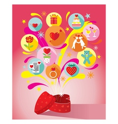 Heart Shape Gift Box with Love Icons vector