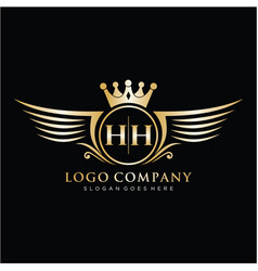hh letter initial with royal wing logo template vector image