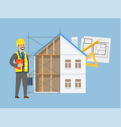 House engineering contractor and building vector
