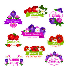 Icons summer flowers blooming bouquets vector