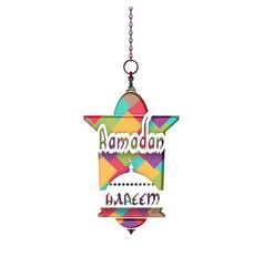 inscription ramadan kareem mosaic a lantern in vector image