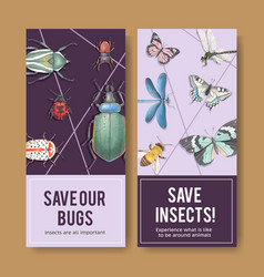 Insect and bird flyer design with beetle vector