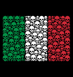 Italy flag pattern of skull icons vector