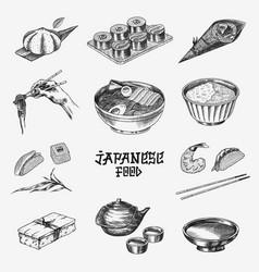 japanese food set sushi bar ramen noodles soup vector image