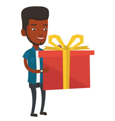 joyful african-american man holding box with gift vector image