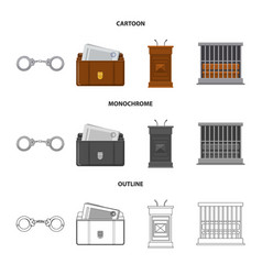 Law and lawyer icon set of vector