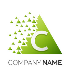 letter c logo symbol in colorful triangle vector image