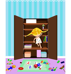 Little girl trying to get sweets in the closet vector