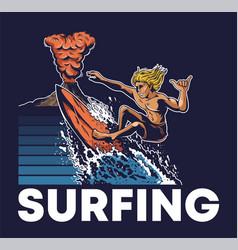 man extreme surfer riding on big ocean wave vector image