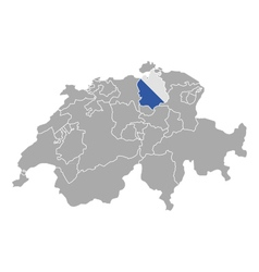 Map of Switzerland with flag of Zuerich vector