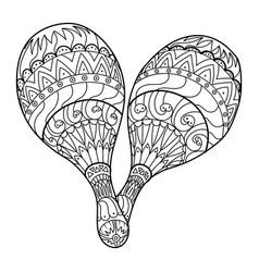 Maraca musical instrument coloring book vector