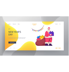 merry christmas and happy new year website landing vector image
