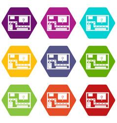 navigator icon set color hexahedron vector image
