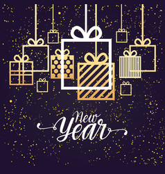 New year poster design with hanging gift boxes vector
