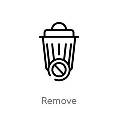 Outline remove icon isolated black simple line vector