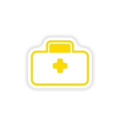 Paper sticker on white background medical suitcase vector