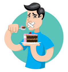 Person with diabetes can not eat sweets sugar vector