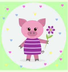 pink pig in a dress and a flower vector image