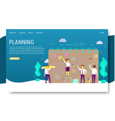 Planning schedule landing page website vector