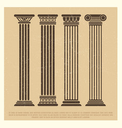 Poster with ancient columns set vector