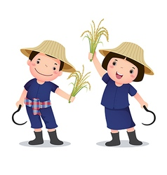 Profession costume thai farmer for kids vector