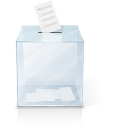 Realistic glass transparent ballot box vector
