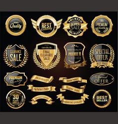 retro vintage golden badges labels badges and vector image