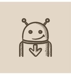 Robot with arrow down sketch icon vector image