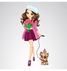 Romantic Girl Hold Spring Flowers vector image