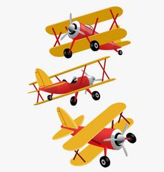 set bundle cartoon double wings airplane vector image