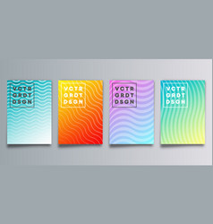 set colorful gradient cover with waves vector image