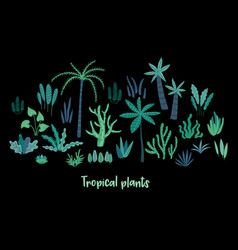 set of abstract tropical plants design vector image