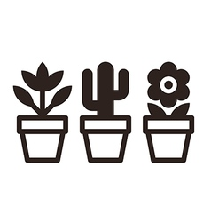 Set of flowers in pots vector image