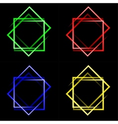 Set of multicolored neon square background with vector
