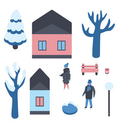 set of winter city elements vector image