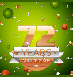 seventy two years anniversary celebration design vector image