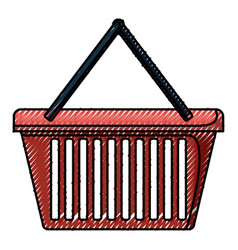 shopping basket in colored crayon silhouette vector image