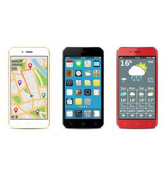 smartphones set with widgets vector image
