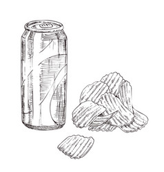 Soda can with chips monochrome sketch vector