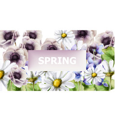 spring flowers bouquet card watercolor vector image