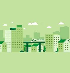 Subway over city skyscraper view cityscape vector