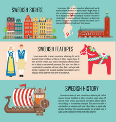 sweden banner set with sights features history vector image