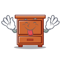 Tongue out wooden drawer mascot cartoon vector