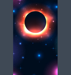 vertical banner with black hole in space with vector image
