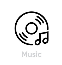 Vinyl and music note icon vector