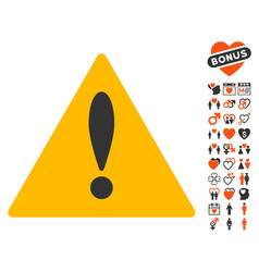 warning icon with lovely bonus vector image