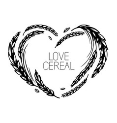 Wheat and malt heart frame love cereal vector